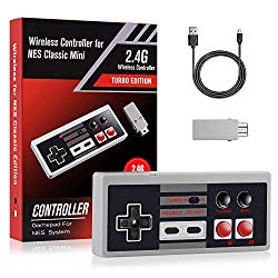 Wireless Controller for NES Classic – Ryhpez 2.4G Rechargeable Gamapad with Receiver Turbo Switch, Compatible for Nintendo NES Classic Mini Edition Gaming System Joystick