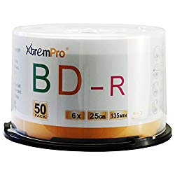 XtremPro Bd-R 6X 25GB 135min Blu-Ray 50 Pack Blank Discs in Spindle – 11053