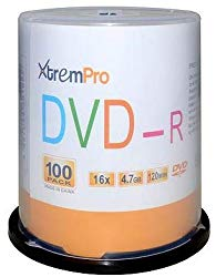 XtremPro DVD-R 16X 4.7GB 120Min DVD 100 Pack Blank Discs in Spindle – 11033