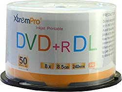 XtremPro DVD+R DL 8X 8.5GB 240min Recordable & White Inkjet Printable Double Layer DVD 50 Pack Blank Discs in Spindle – 11127, Portable Easy to Use