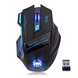 Zelotes 2.4GHZ Wireless Gaming Mouse with USB Receiver, 2400DPI 4 Adjustable DPI Levels, 7 Buttons, Cool LED lights, Ergonomic Optical Computer Mice Compatible with Windows 2000/XP/7/8/10/Vista