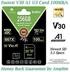 256GB Micro SD Card Plus Adapter. Amplim MicroSD SDXC Memory Card Pack (100MB/s 667X V30 A1 Class 10 U3 UHS-I) 256 GB MicroSDXC TF Card Flash – Cell Phone, Drone, Camera, GoPro, Fire, Nintendo, DJI