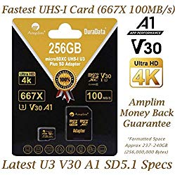 256GB V30 A1 Micro SD SDXC Memory Card Plus Adapter Pack (Class 10 U3 UHS-I MicroSD XC Card) Amplim Extreme Speed 667X 100MB/s UHS-1 256 GB MicroSDXC TF Card – Cell Phone, Drone, Camera