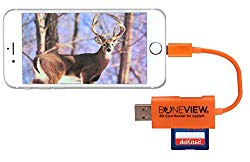 BoneView SD Card Reader for iPhone – New Corded Trail Camera Viewer Plays Deer Hunting Game Camera Scouting Video & Photo Memory on All Latest Apple iOS iPad and iPhone Smartphones, Orange