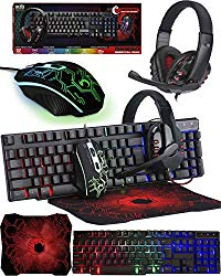 Gaming Keyboard and Mouse and Mouse pad and Gaming Headset, Wired LED RGB Backlight Bundle for PC Gamers and Xbox and PS4 Users – 4 in 1 Gift Box Edition Hornet RX-250