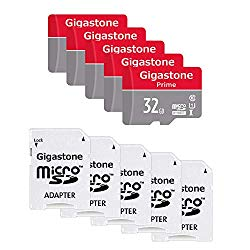 Gigastone 32GB 5-Pack Micro SD Card with Adapter, U1 C10 Class 10, Full HD available, Micro SDHC UHS-I Memory Card