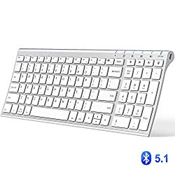iClever Bluetooth Keyboard, Multi Device Keyboard Rechargeable Bluetooth 5.1 with Number Pad Ergonomic Design Full Size Stable Connection White Keyboard for iOS, Android, Windows