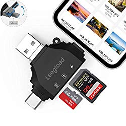 LEEGLOAD 4 in 1 TF/SD Card Reader Compatible with iPhone/Android/Computer,Digital Camera SD Reader Adapter,Memory Card Adapter with Lightning/USB C/USB A/Micro USB,Trail Camera Viewer(Black)