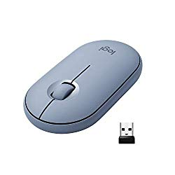Logitech Pebble M350 Wireless Mouse with Bluetooth or USB – Silent, Slim Computer Mouse with Quiet Click for Laptop, Notebook, PC and Mac – Blue Grey
