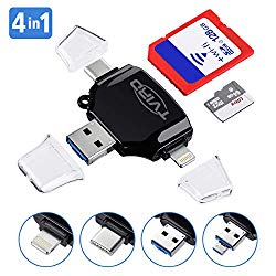 SD Card Reader, Tvird – 4 in 1 SD/TF Memory Card Reader USB 3.0, USB OTG Interface, Type-C, Lightning Connector, Micro SD Card Reader for iPhone/iPad/Android/MacBook/PC/Laptop, Trail Camera Viewer