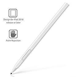 Stylus Pen for Apple iPad with Palm Rejection, Rechargeable, Uogic Stylus for Apple iPad (10.2-Inch), iPad Pro (11/12.9 Inch), iPad (6th Gen), Air (3rd Gen), Mini (5th Gen), White
