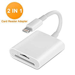 VELLEE SD Card Reader Compatible with iPhone/iPad, TF & SD Memory Card Reader Adapter, 2 in 1 Dual Slot Card Reader, Trail Game Camera Viewer (Support iOS 9.2-13 or Later), Plug and Play – White