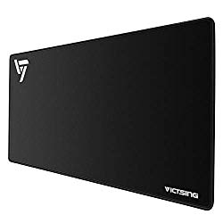 VicTsing [30% Larger] Extended Gaming Mouse Pad with Stitched Edges, Long XXL Mousepad (31.5×15.7In), Desk Pad Keyboard Mat, Non-Slip Base, Water-Resistant, for Work & Gaming, Office & Home, Black