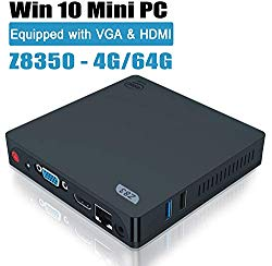 Windows 10 Mini PC, Z83-V Upgraded 4GB/64GB eMMC Intel Quad-Core Atom x5-Z8350 Mini Desktop Computer, Dual Band WiFi, HDMI&VGA Ports,1000M LAN, Fanless Mini PC Support Auto Power On