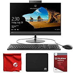 Lenovo Ideacentre AIO 520-24ARR All-in-One 23.8-Inch Desktop Computer (AMD Ryzen 3 2200GE 3.2GHz, 8GB RAM, 1TB HDD, Windows 10 Home 64-Bit) Bundle with McAfee Antivirus 1-Year