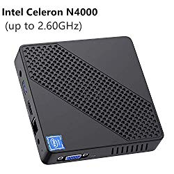 Mini PC Fanless Intel Celeron N4000 (up to 2.6GHz) 4GB DDR/64GB eMMC Mini Desktop Computer Windows 10 Pro HDMI 2.0and VGA Port 2.4/5.8G WiFi BT4.2 3xUSB3.0 Support Linux,NGFF 2242 SSD