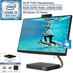 2020 Lenovo IdeaCentre A540 All-in-One Desktop Computer, 23.8″ 24″ FHD Touchscreen, Intel 6-Core i5-9400t Up to 3.4GHz, 8GB DDR4, 256GB SSD, HDMI, Windows 10, YZAKKA External DVD+Accessories